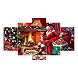 KICODE BigFamily Oil Painting Christmas Decor Santa Claus Fireplace Wall Picture A Set of Five