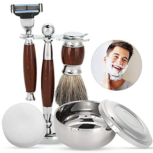 Shaving Sets for Men Gift Luxury Manual Shaver Kit with Beard Cleaning Brush, Bowl, Soap and Brush Holder Traditional Facial Hair Trimmer Grooming Tool
