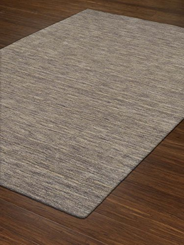 Gray Rug Striped/Solid Design 8' X 10' Wool Solid Carpet