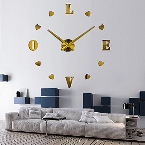 Amazon.com: Constructan(TM) new wall clock reloj de pared quartz watch europe horloge home living room 3d acrylic mirror vintage clocks: Home & Kitchen