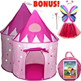 Toys : 5-Piece Princess Castle Girls Play Tent w/ Glow in the Dark Stars & Butterfly Fairy Dress Up Costume - Childrens Play Tents for Indoor & Outdoor Use with Pink Girls Playhouse Fairy Tale Carrying Case