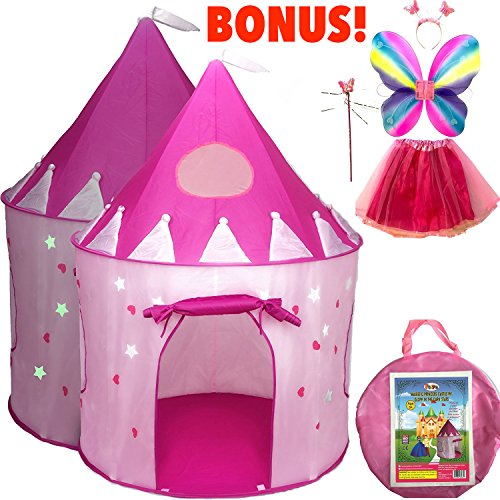 5-Piece Princess Castle Girls Play Tent w/ Glow in The Dark Stars & Butterfly Fairy Dress Up Costume - Childrens Play Tents for Indoor & Outdoor Use with Pink Girls Playhouse Fairy Tale Carrying Case