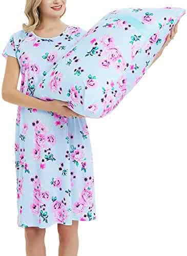 b3ef7a4dba8fd Maternity Labor Delivery Gown Hospital Nightgown Nursing Nightdress with  Matching Pillowcase