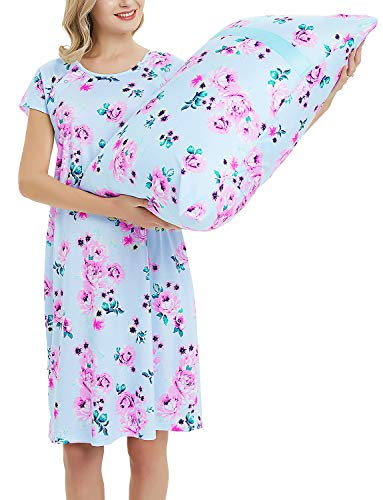 (Maternity Labor Delivery Gown Hospital Nightgown Nursing Nightdress with Matching Pillowcase Blue Floral Dress M)