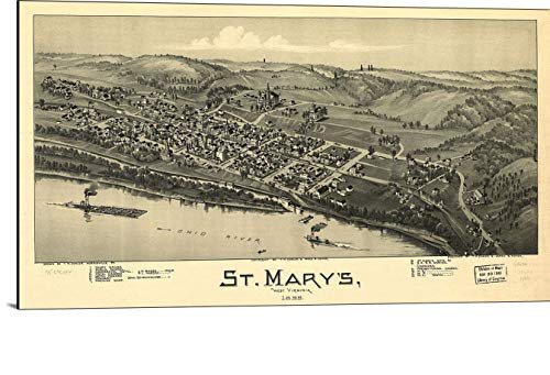 (Cutler Miles St Mary's West Virginia 1899 Map Print on Wood)