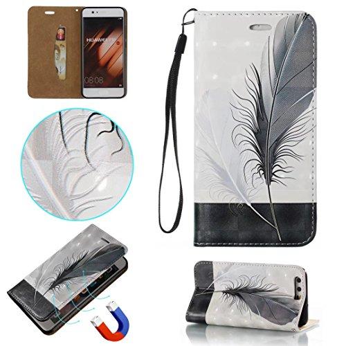 COWX Huawei P10 Hülle Kunstleder Tasche Flip im Bookstyle Klapphülle mit Weiche Silikon Handyhalter PU Lederhülle für Huawei P10 Tasche Brieftasche Schutzhülle für Huawei P10 schutzhülle