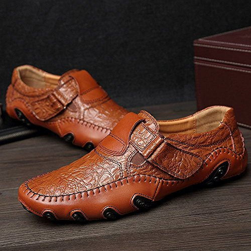 Huateng 2018 New Men's Leather Casual Shoes, Men's Driving Shoes Lazy Shoes Brown