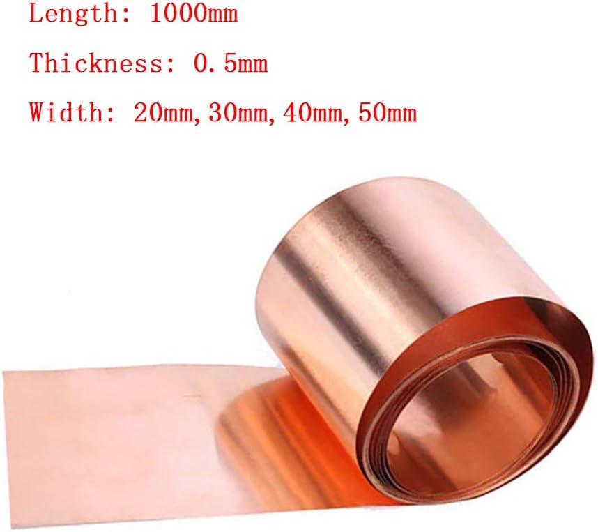 Fly-Fiber 99,9/% de Cobre Puro de Cobre Panel Cinta de la Hoja T2 Hoja de Cobre 1000mm Hoja de protecci/ón contra Espesor 0,5 mm Hoja de CU Hoja de Metal,Width 50mm