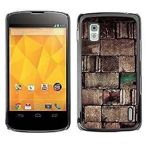 TopCaseStore / la caja del caucho duro de la cubierta de protección de la piel - Wall Stone Design Blocks Art Architecture - LG Google Nexus 4 E960