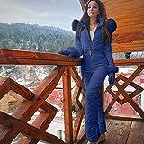 Lazapa Women Winter Sports Jumpsuit, Outdoor Zipper Hooded Ski Suit Plus Velvet Thicken Windproof Waterproof Windbreaker Blue