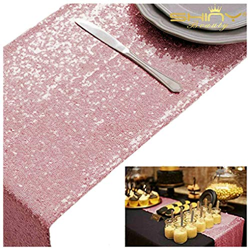 Fuchsia Pink Bridal Shower Decorations 5Pcs Pink Gold 12''x72'' Sequin Table Runners Rose Pink Party Supplies -723S (Pink Runner Sequin Table Light)