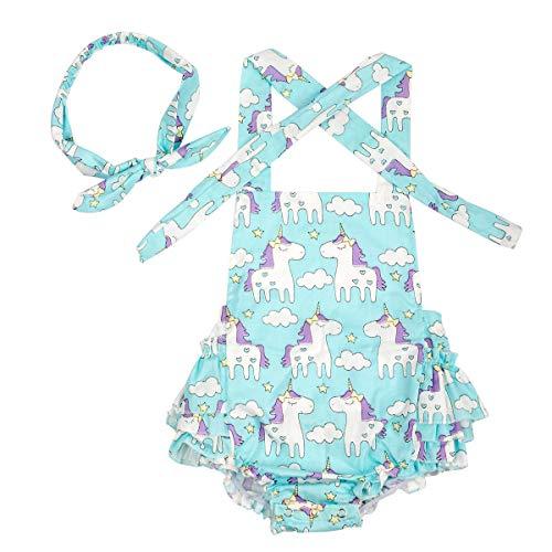 Slowera Baby Girls 2pcs Sets Cotton Ruffles Romper Outfits Clothes (L: 24 Months, Blue Unicorns)