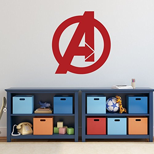 Avengers Vinyl Wall Decal - Marvel Comics Superhero Logo Symbol Decoration for Boys Bedoom or Playroom