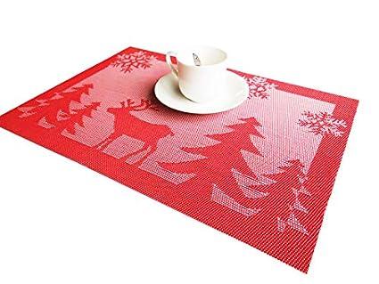 rimobul christmas tree and reindeer woven vinyl placemats set of 4 reindeer red