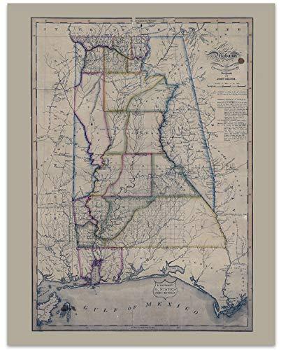 Alabama Vintage Map Circa 1818-11 x 14 Unframed Print - Great Housewarming Gift. Alabama Themed Office Decor.