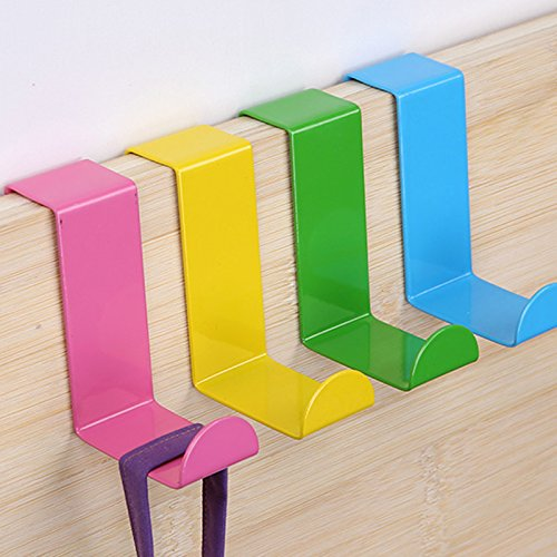 Mziart 4pcs Colorful Over Door Hooks Holder Stainless Steel Bathroom Kitchen Cabinet Reversible Coat Hooks (Stainless Steel Bathroom Cabinets)