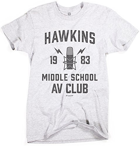 Superluxe Clothing Mens Hawkins Middle School AV Club Vintage 80s Boys Halloween Costume T-Shirt, Heather Grey, -