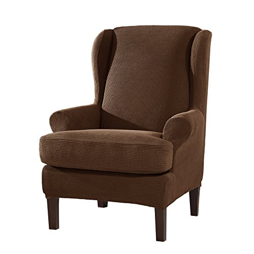 Subrtex 2 Piece Spandex Waffle Fabric Stretch Wingback Chair