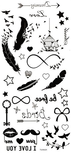 Spestyle waterproof and non toxic Feathers,birds,stars,keys,beards,birdcage temp tattoo stickers