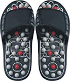 Deluxe Comfort Men's Slip-On Smart Step Reflexology Sandals, Size 7-8 – Rejuvenates Sore Feet – Orthopedic Foot Therapy – Athlete Recovery Footware – Foot Massager Sandals, Black/Grey