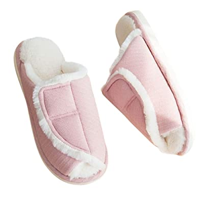 Adjustable Slide Slippers - Anti Skid Warm House Fuzzy Slippers Wide Velcro Wrap Shoes for Womens Mens Orthopedic | Slippers