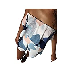 Shinekoo Women Summer Off Shoulder Strapless Floral Jumpsuit Boho Beach Playsuit