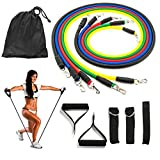Resistance Bands Set, Koncle Exercise Bands, Fitness Bands Include 5 Exercise Bands, Door Anchor, Foam Handles, Ankle Straps and Waterproof Carrying Case, for Resistance Training , Sports & Outdoors