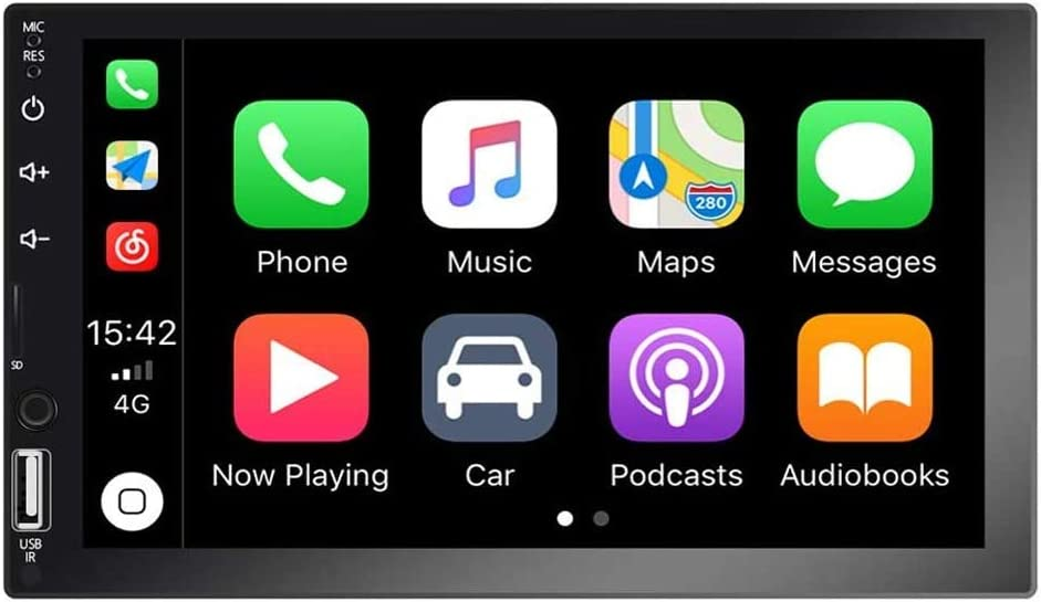 Autoradio Indash Car Stereo Double Din 7 Inch HD Touch Screen Radio Bluetooth FM with USB/AUX-in/RCA/Rear View Camera Input Support Mirror Link D-Play for Android iOS Phone + Backup Camera & Remote