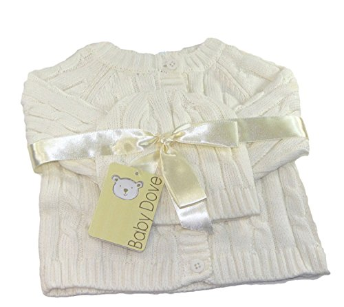 Baby Dove Cable Knit Cardigan & Beanie Set,Ivory,0-3 Months