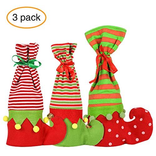 WONGYEE 3pcs Christmas Wine Bottle Cover, Elf Boots Stocking Candy Gift Wine Stocking Bags Christmas Decoration