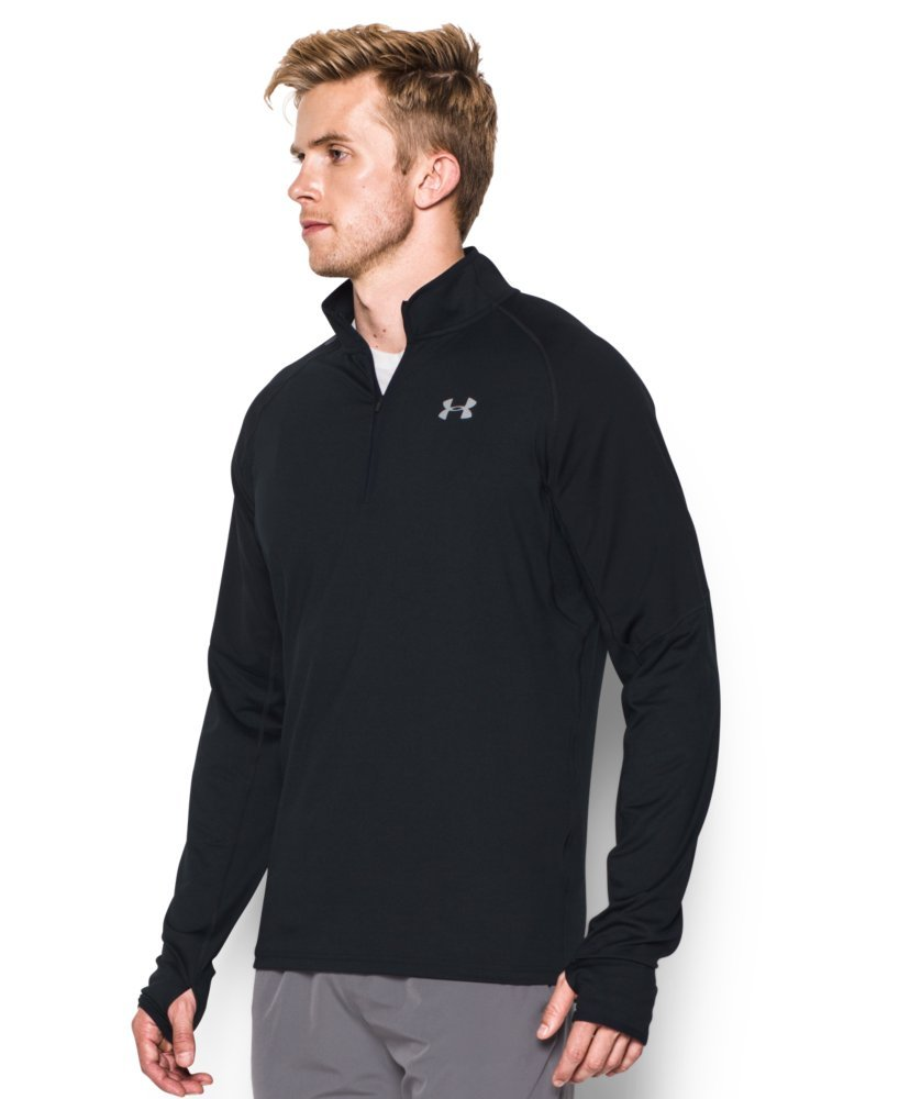 Under Armour Men's No Breaks Run 1/4 Zip, Black/Black, Small by Under Armour (Image #3)