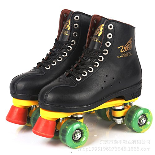 Red Double Row (Ling@ Double-row roller skates adult men and women leather PU Flash skating shoes four-wheeled roller skates , black , ink green flash wheel)