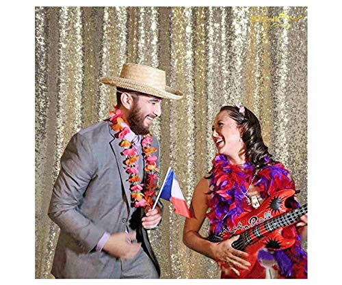 PHOTO BOOTH BACKDROP Best Choice-4FTx6FT-Light Gold Sequin Photobooth Backdrop for Weddings and Events, Wedding decoration fabric, Sparkle Curtain for Backdrop (Light Gold)