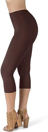 SATINA High Waisted Leggings for Women - Soft Women's Leggings in Capri & Full Lengths - Regular and Plus Sizes in 25 Colors