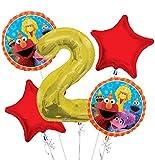 Sesame Street Elmo Balloon Bouquet 2nd Birthday 5 pcs - Party Supplies