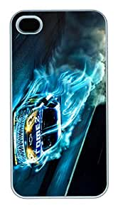 Slim Case Cover for iPhone 4S/4 Amazing Drag Racing Tube Design iPhone 4S Case PC White Case for iPhone 4S/4