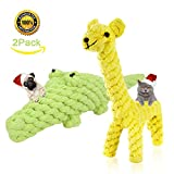 BKING-BOX Small Dogs/Puppy Chew Toys for Teething Giraffe and Crocodile Animal Design Chew Rope Toys Set/Interactive Dental Teething Chew Play Toys for Small Breeds Under 10kg