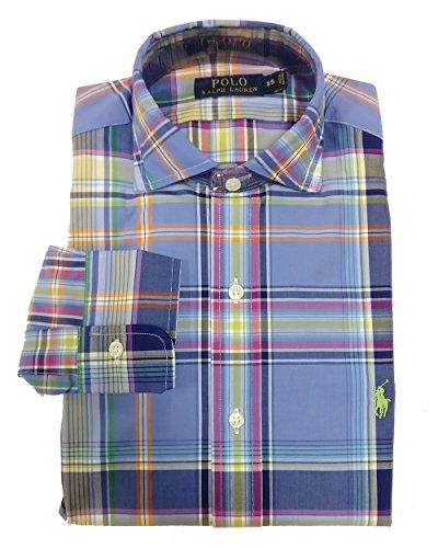 RALPH LAUREN Polo Men's Plaid Long Sleeve Cotton Poplin Shirt, Steel Blue White (X-Small, Steel Blue/White)
