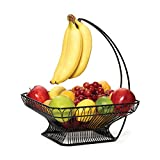 Gourmet Basics by Mikasa 5147846 French Countryside Metal Fruit Basket with Banana Hook, 12-Inch, Glossy Black