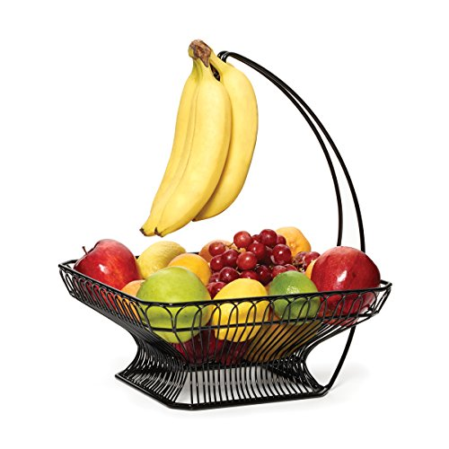Gourmet Basics by Mikasa 5147846 French Countryside Metal Fruit Basket with Banana Hook, 12
