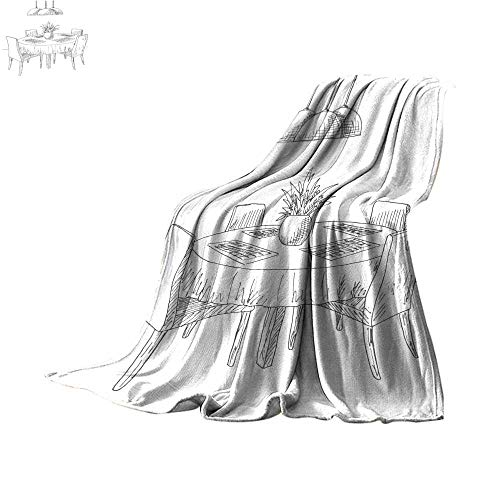Queen Size Blanket Part of The Dining Room Round Table and Chairs On The Table vase of Flowers Hand Drawn Sketch Vector Illustration Throw Blanket 60