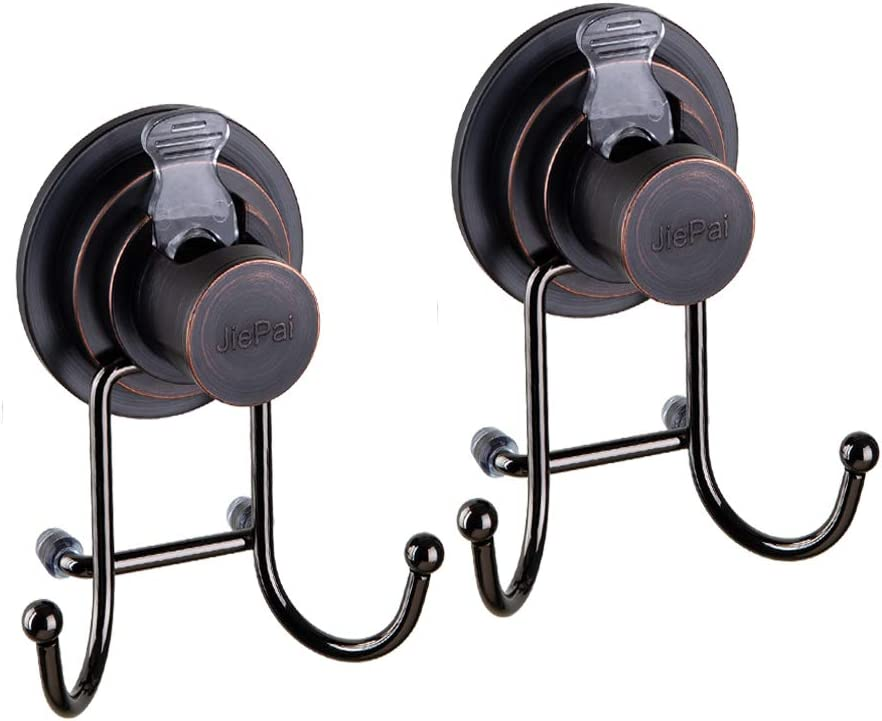 JIEPAI Powerful Vacuum Suction Cup Hooks,Holder for Towel Bathrobe and Loofah - Shower Hooks for Bathroom & Kitchen - Adhesive 3M Stick Discs, Bronze (2 Pack)