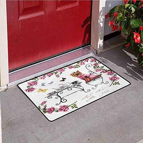 (Yorkie Front Door mat Carpet Yorkshire Terrier in Pink Dress Having a Tea Party Tea Time Butterflies Roses Machine Washable Door mat W29.5 x L39.4 Inch Pale Pink White)