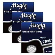 Mugig Guitar Strings Set for Acoustic Guitar 2 steel strings plus 4 Phosphor Bronze Wound Hexagonal Steel Strings, Pack of 3 (Acoustic Guitar)