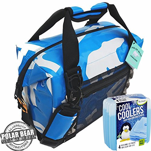 Polar Bear Coolers H2O Waterproof Cooler (Size 12 Pack) Ice Blue & Fit & Fresh Cool Coolers Slim Ice 4-Pack - 24 Bear Pack Polar Cooler