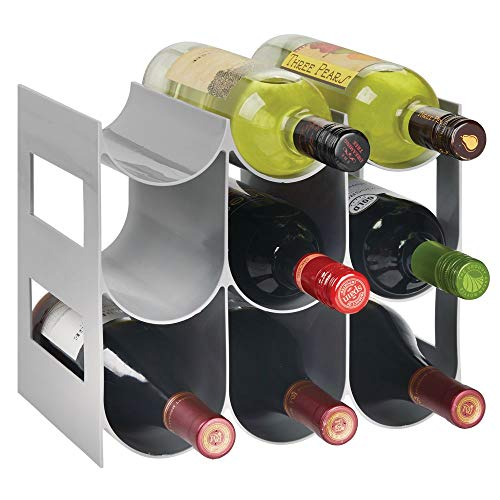 mDesign Plastic Free-Standing Water Bottle and Wine Rack Storage Organizer for Kitchen Countertops, Pantry, Fridge - BPA Free - 3 Tiers, Holds 9 Bottles - Gray