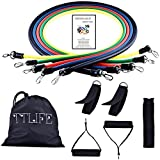 TTLIFE 11pcs Exercise Latex Resistance Bands Tube Workout Gym Yoga Fitness Stretch ABS