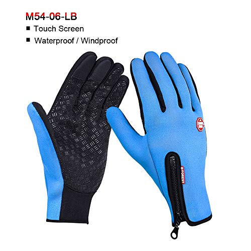 Ghost thorn Motorcycle Gloves Windstopper Full Finger Ski Gloves Warm Riding Glove Outdoor Sports Car-styling Touch Screen Zipper Gloves (Color : Blue-2-L)