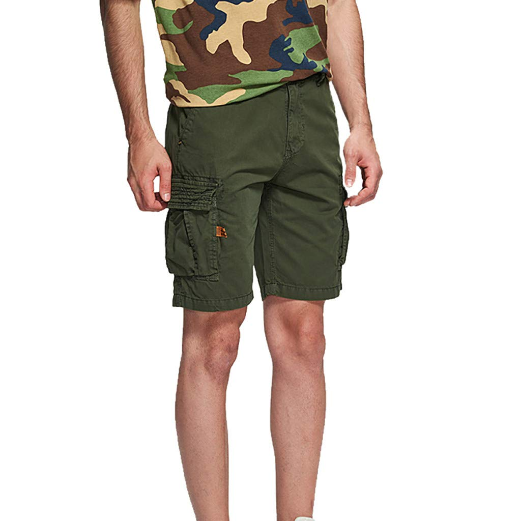 EINCcm Mens Solid Color Cargo Shorts Relaxed Fit Multi-Pocket Outdoor Cargo Shorts Cotton(Army Green, 34)