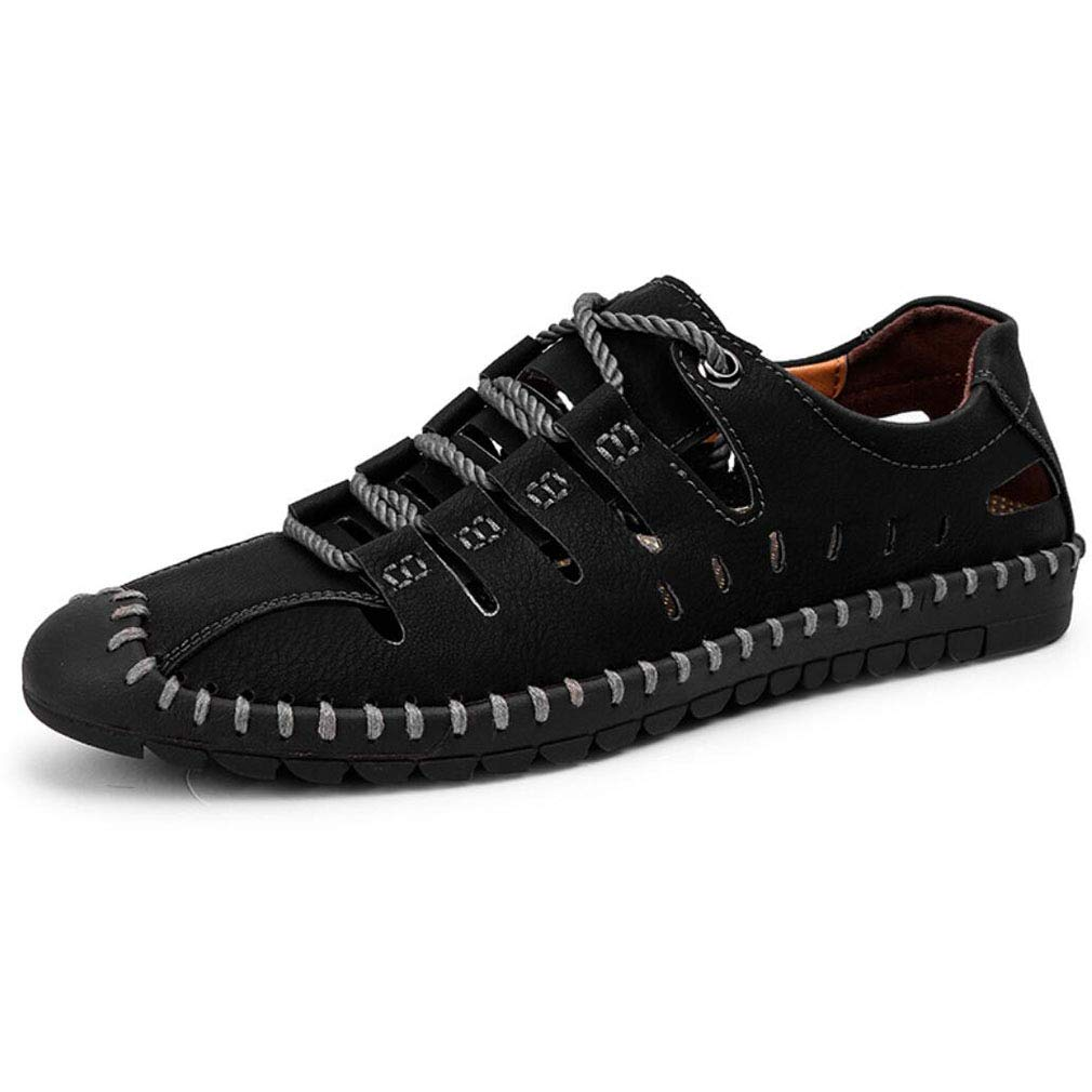 YAN Herrenschuhe Mikrofaser Frühling Herbst Leichte Driving Casual Loafers Driving Leichte Schuhe Lace up Breathable Niedrig-Top Sandale 2018 Mode (Farbe   Braun, Größe   41) 070362